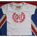 T-shirt bebe Oi lauriers blanc rouge