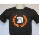 T-shirt trojan helmet in a laurel wreath black orange white