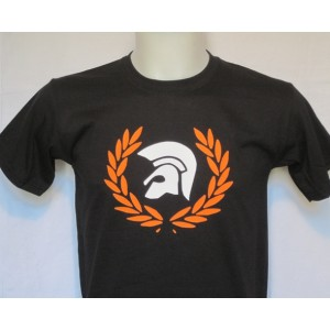T-shirt Casque Trojan laurier Noir orange blanc