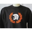 Sweatshirt Trojan helmet laurel wreath. Black orange white