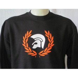 Sweat-shirt Trojan lauriers . Noir orange blanc