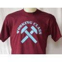 Working Class t-shirt. Claret and blue