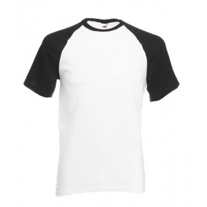 T-shirt  base-ball Fruit of the Loom blanc noir