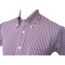 shirt vintage gingham 3mm burgundy and white