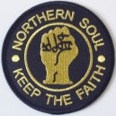 Northern Soul patch. keep the faith  - fist- black and gold