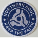 Northern Soul patch. keep the faith  - 45 adaptor- blue and white