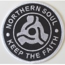 Patch Northern Soul. Keep the faith- 45 adaptor- noir et blanc