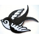 Black and white sparrow swallow  patch. B. Large size 10x7cms