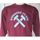 Working Class sweat shirt. Claret and blue