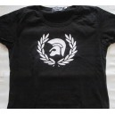 T-shirt woman helmet Trojan laurier black and white
