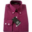 Relco micro polka dot shirt . burgundy and white, long sleeves