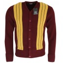 cardigan Relco London . Bordeaux et  jaune