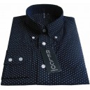 Relco micro polka dot shirt . navy and white, long sleeves