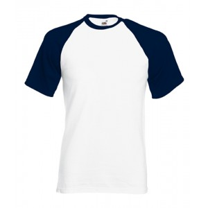 T-shirt  baseball Fruit of the Loom blanc et marine