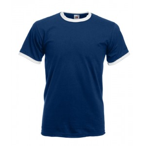 T-shirt  Ringer Fruit of the Loom marine et blanc