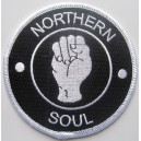 Northern Soul patch - fist- black and white