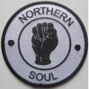 Northern Soul patch - fist- white with black embrodery