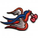 Patch. swallow with cherries . blue and red