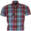 Relco vintage style shirt. CK26  burgundy + green + white + blue