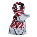 Stripes scarf.  Silver grey with red  and black stripes