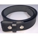 Black leather belt for removable buckle