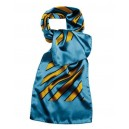 Stripes scarf.  Sky with gold and blue stripes