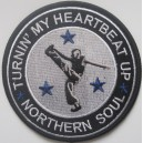 Northern Soul patch - Turnin my heatbeat up- black white blue
