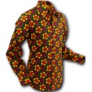"Chenaski mod, retro 60/70 style shirt, ""Flowergrid"". long sleeves. C103"