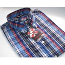 """Warrior Clothing vintage style shirt """"Shelley"""" .  Sky + white + black + navy + red"""