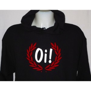 Sweat capuche Oi lauriers . Noir rouge blanc