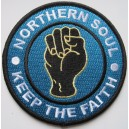 Northern Soul patch. keep the faith  - fist- blue