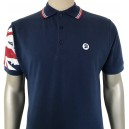 polo Trojan Records. Azul, manga bandera Union Jack