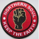 Northern Soul patch. keep the faith  - fist- red