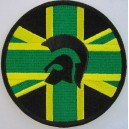 Trojan union flag jamaica patch. black green yellow