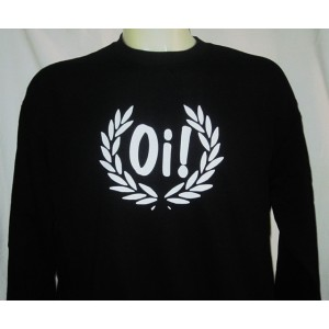 Sweat-shirt Oi lauriers . Noir / blanc