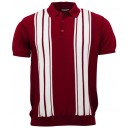 Polo tricot Relco London Bordeaux blanc.