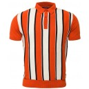 Relco London knitted poloshirt. Orange white black