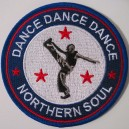Northern Soul patch - Dance Dance Dance- black white blue red