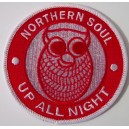 Northern Soul  - Up all night  owl  patch. Red and white