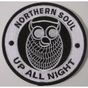 Patch Northern Soul  - Up all night  owl - Blanc et noir