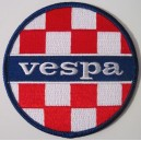 Vespa patch - checkerboard red white +  blue colors.