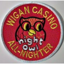Wigan Casino All Nighter - night owl patch. Red and yellow