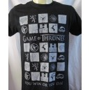 """Game of Thrones T-shirt. """"You win or you die"""". TV serie"""