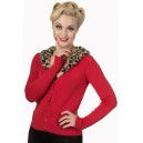 "Cardigan ""Sweet nothing"" par Banned Apparel pin up, rockabilly, retro,vintage. Rouge et leopard"