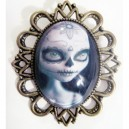 Broche camée retro vintage poupée mexicaine halloween grande dimension