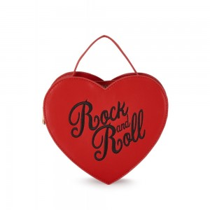 """Sac Collectif  coeur """"Rock and Roll"""" .Rouge et noir"""