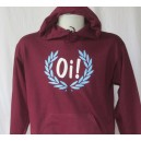 Sweat capuche Oi lauriers . Bordeaux ciel blanc