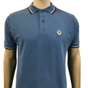 Trojan Records poloshirt. Twin tipped. Sapphire.white and plum
