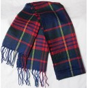 Scarf  Blue Tartan with green + red + yellow