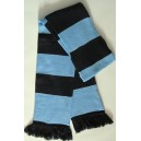 60/70's retro football scarf / school scarf . Sky and navy
